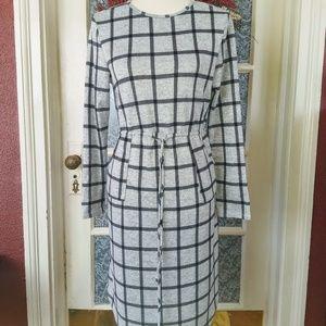 Grey Black Windowpane Midi Tie Waist Dress